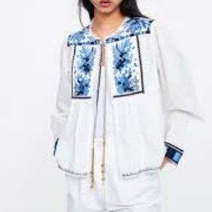 Zara Cotton White and Blue Embroidered Jacket XS
